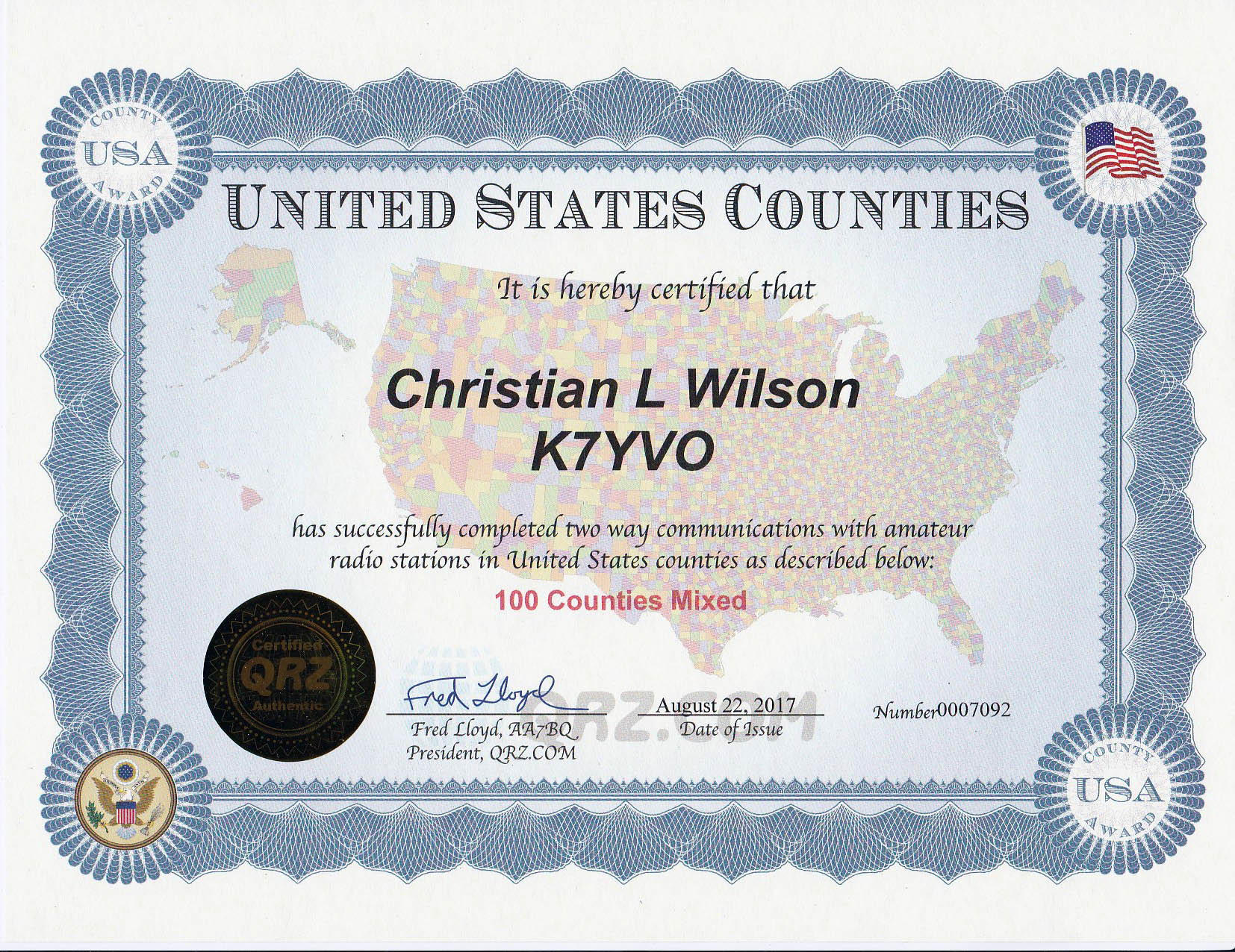 United States Counties Award